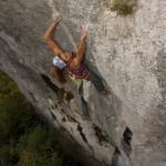 Elena climbing in Istarske toplice